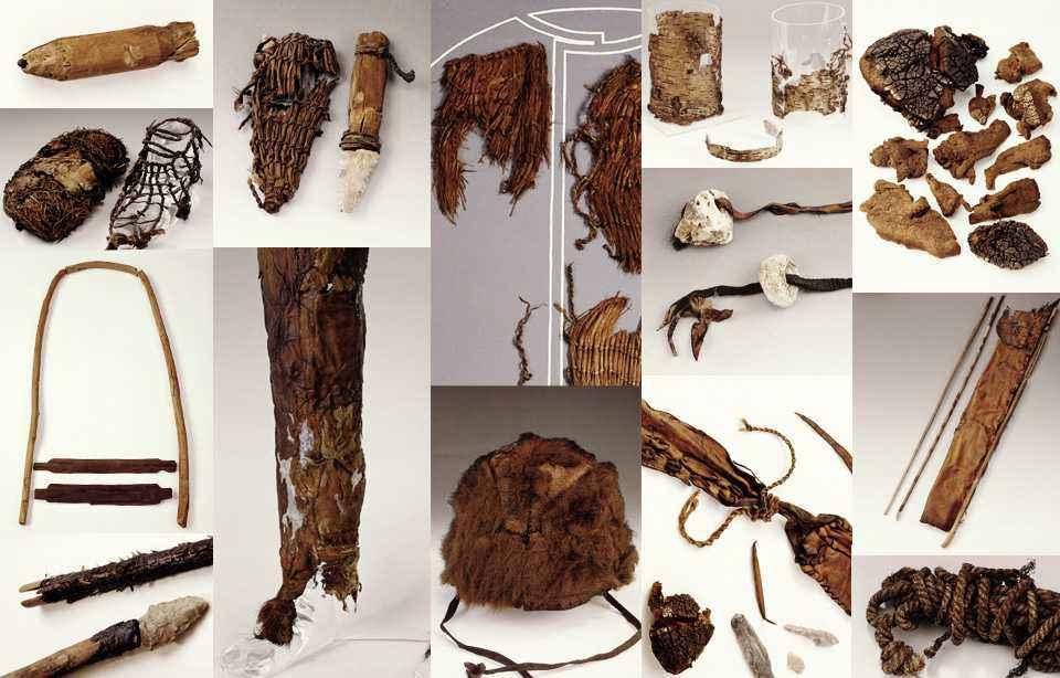 Parte degli oggetti ritrovati vicino al corpo di Ötzi