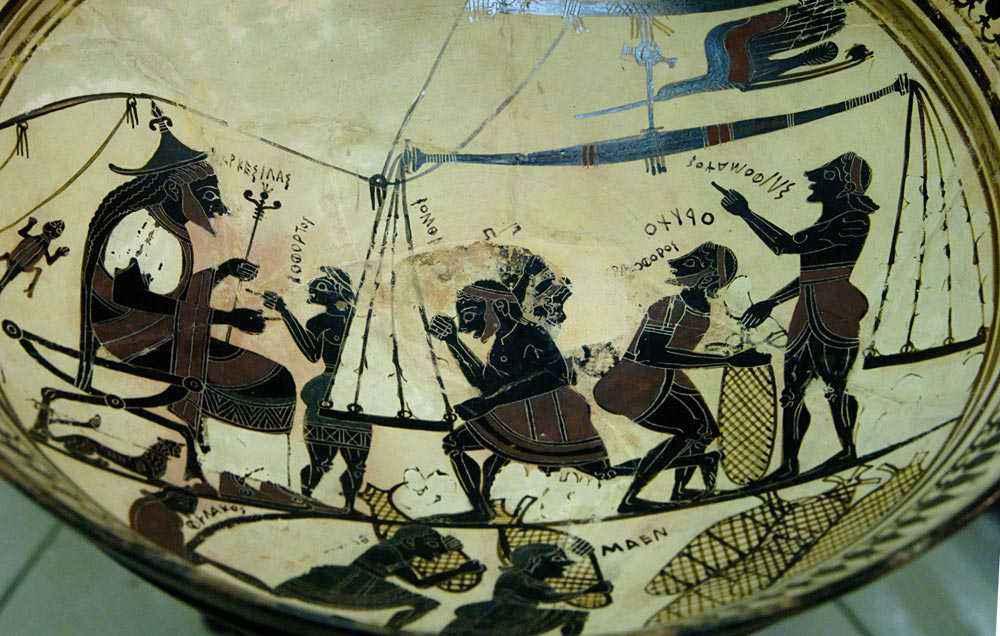 Arcesilao II di Cirene assiste alla pesatura del silfio.