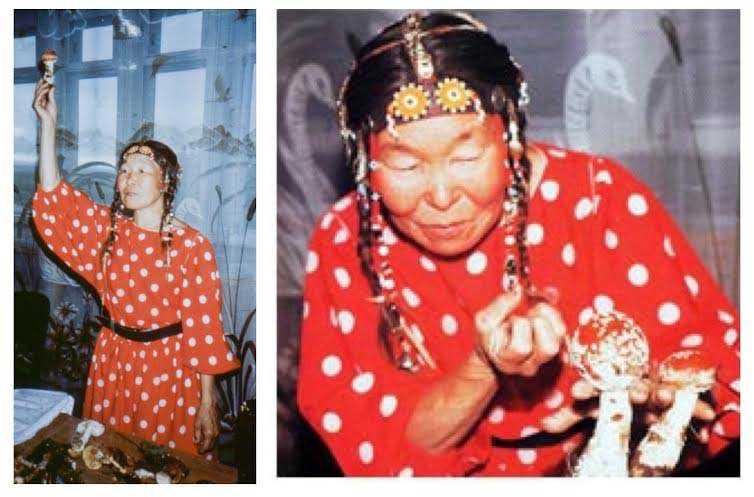 Sciamana siberiana durante un rituale legato all' Amanita muscaria