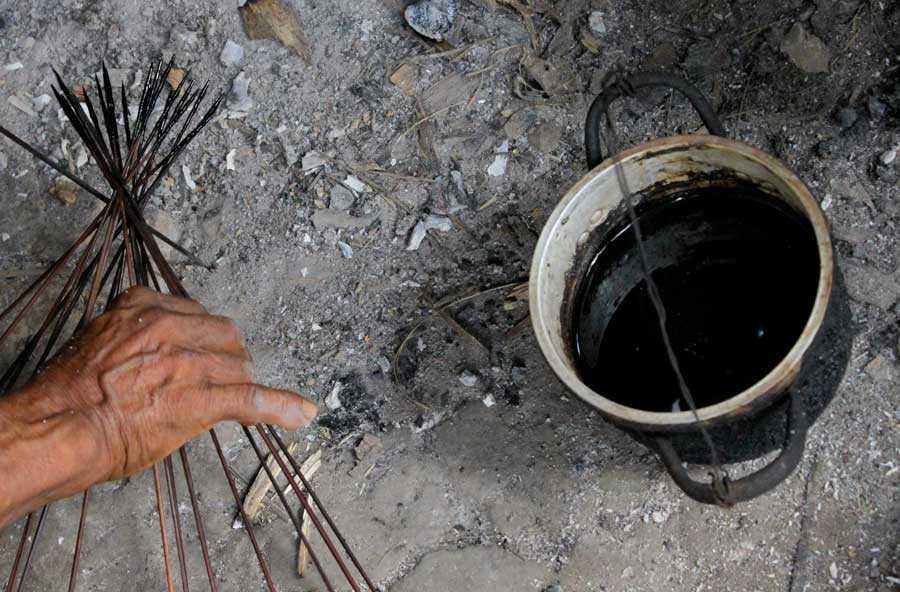 Dardi di cerbottana intinti nel curaro preparati da un esperto cacciatore Huaorani
