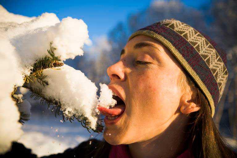 Sopravvivenza mangiare neve