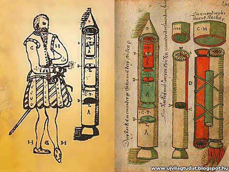Razzi multistadio del manoscritto di Conrad Haas