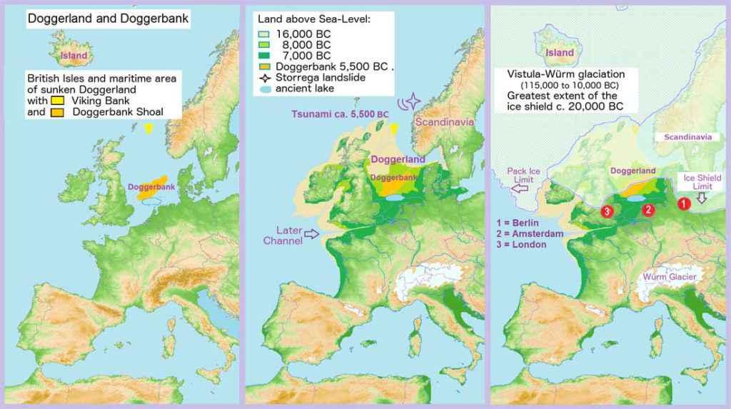 Evoluzione di Doggerland durante i millenni