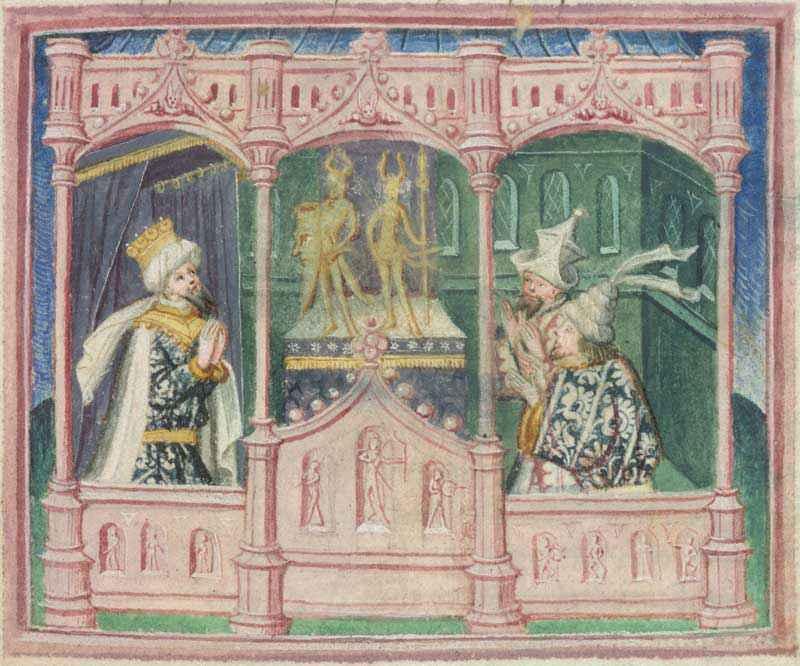 Manoscritto della prima metà del XV° secolo, di autore incerto, che raffigura Ragnar, Ivar e Ubba che conteplano idoli pagani.