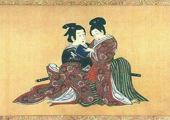 Samurai e apprendista in un dipinto di Miyagawa Issho