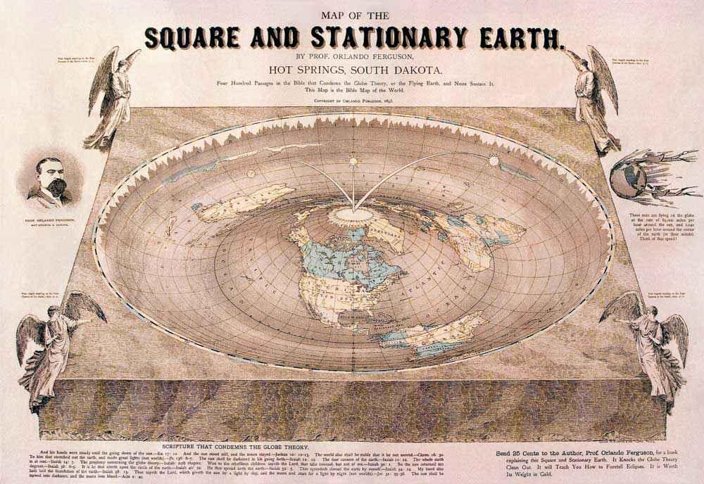 Mappa della Terra piatta creata da Orlando Ferguson nel 1893