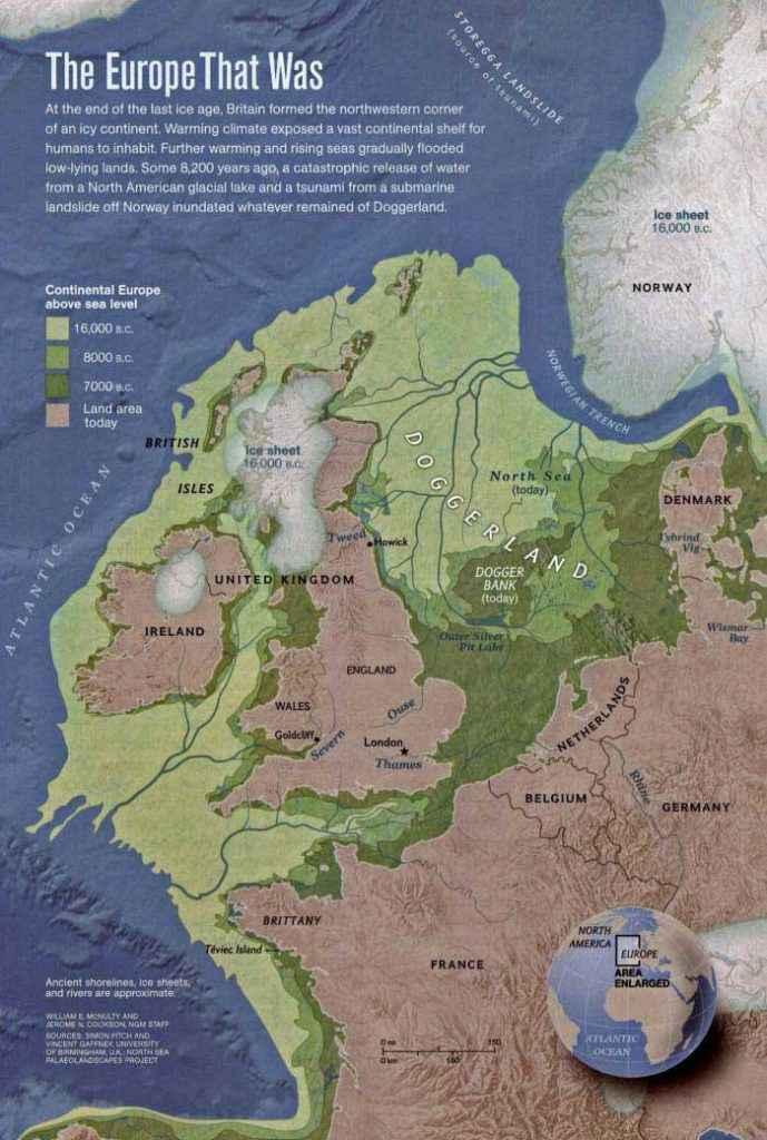 Mappa approssimativa di Doggerland realizzata da Vince Gaffney della University of Birmingham