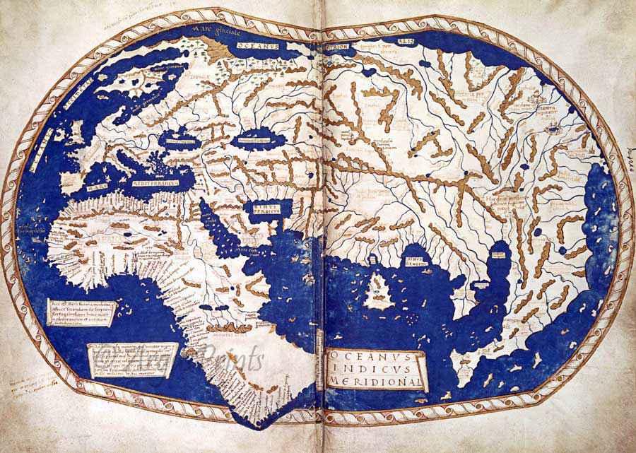 Mappa del mondo conosciuto realizzata nel 1491 da Enrico Martello e probabilmente consultata da Colombo per la pianificazione del suo primo viaggio verso Occidente.