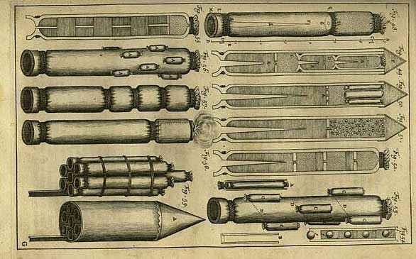Razzi ideati da Siemienowicz nel 1650