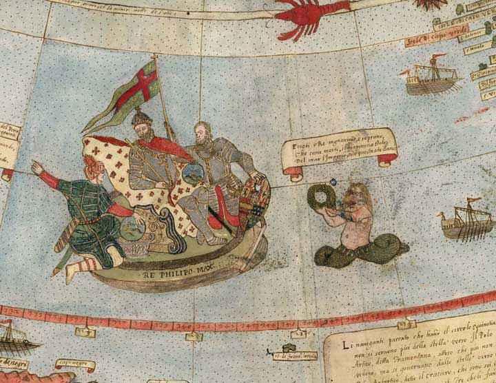 Dettaglio della Tavola XXIIII che mostra le coste del Brasile e Re Filippo II di Spagna