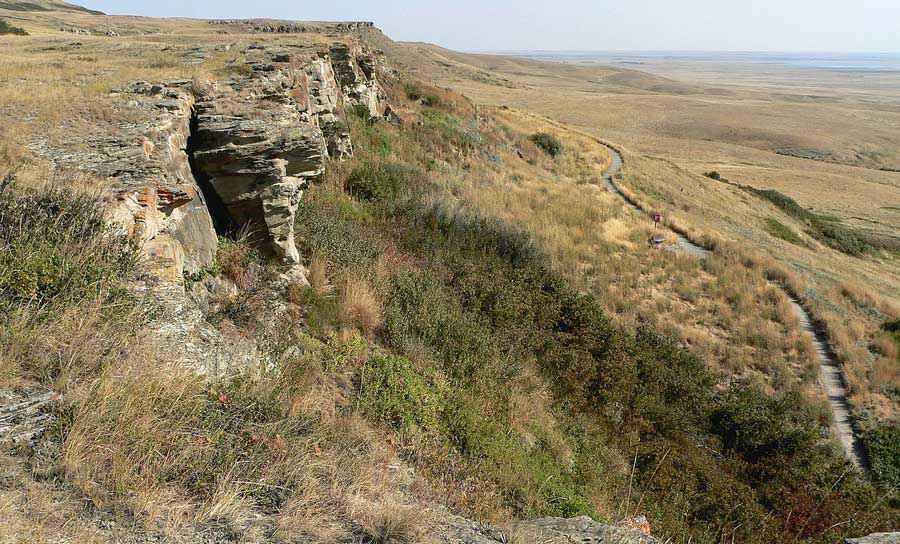 Head-Smashed-In Buffalo Jump, formazione rocciosa presso Alberta, Canada, sfruttata per millenni dai Piedi neri per la caccia al bufalo.