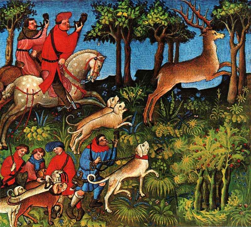 Battuta di caccia al cervo nel Medioevo
