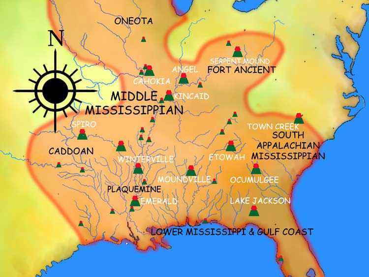 Mappa che mostra alcuni degli antichi insediamenti vicini a Cahokia