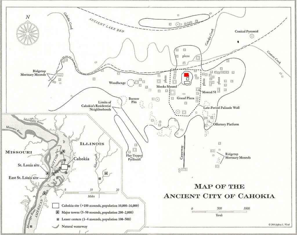Mappa della città di Cahokia