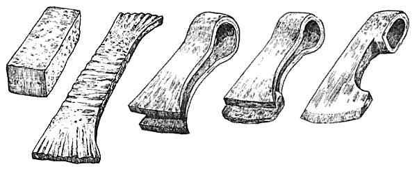 Tecnica per la realizzazione del punto d'innesto tra la testa d' ascia e il manico
