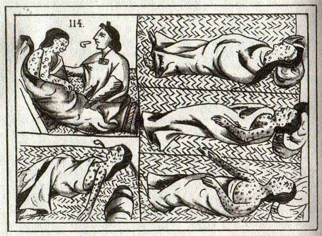 Vittime dell'epidemia cocoliztli raffigurate nel Codice Fiorentino di fra' Bernardino de Sahagún