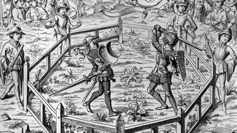 """Processo per combattimento in una miniatura del manoscritto del XV secolo """"Conquetes de Charlemagne"""""""