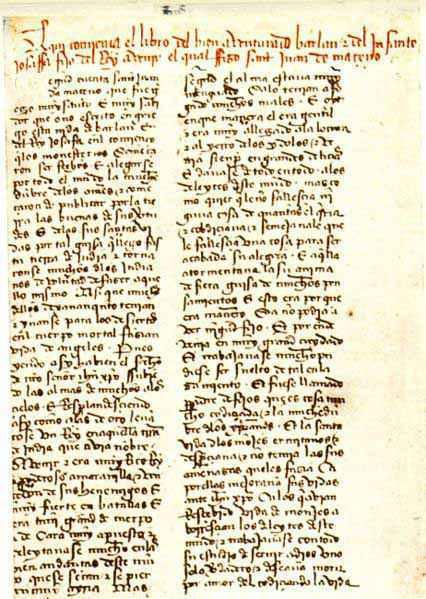 La prima pagina di un manoscritto del XIV-XV secolo sulla storia di Barlaam e Iosafat, Biblioteca Nacional de España