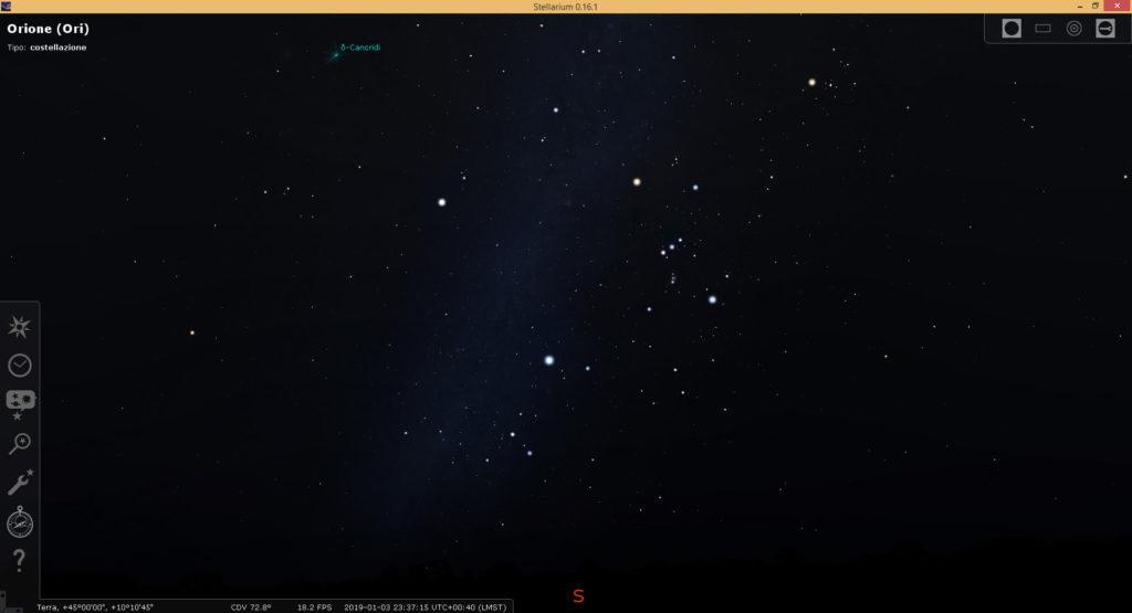 Simulazione della Via Lattea (con il software Stellarium) e costellazione di Orione