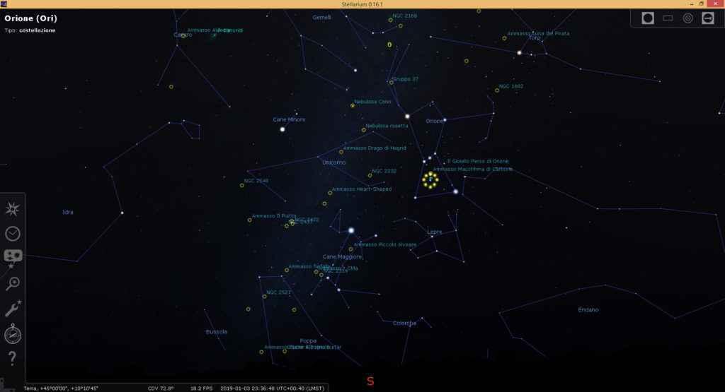 Simulazione della Via Lattea e Orione con il dettaglio di costellazioni, pianeti e vari corpi celesti