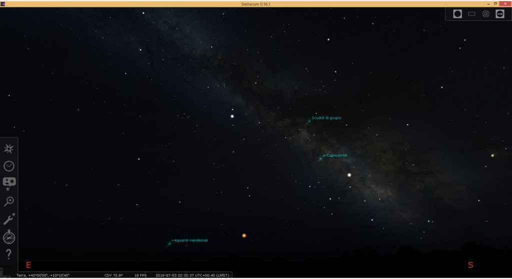 Simulazione della Via Lattea (con il software Stellarium) vista da un cielo privo di inquinamento luminoso