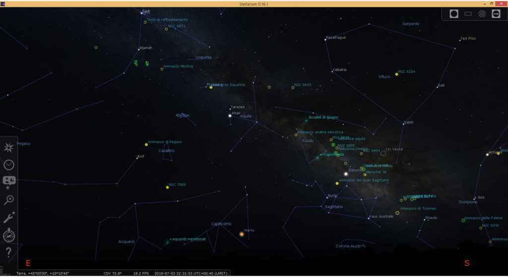 Simulazione della Via Lattea con il dettaglio di costellazioni, pianeti e vari corpi celesti
