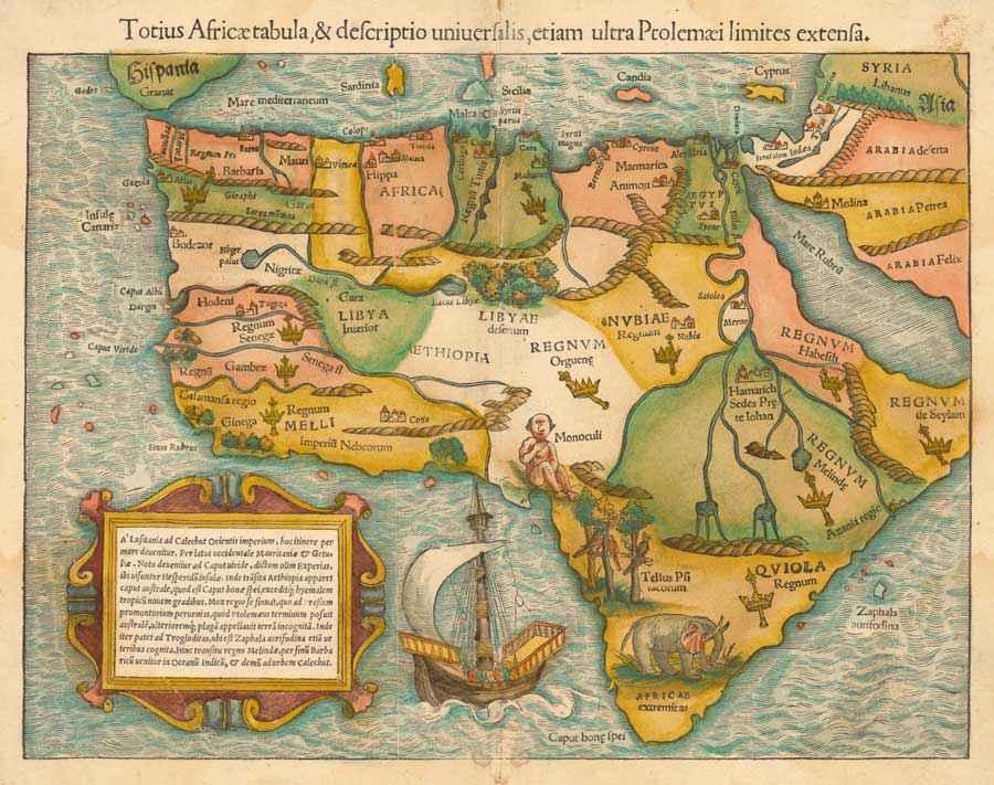 Mappa dell'Africa realizzata dal cosmografo Sebastian Münster intorno al 1540, circa mezzo secolo dopo i viaggi esplorativi africani condotti dai Portoghesi