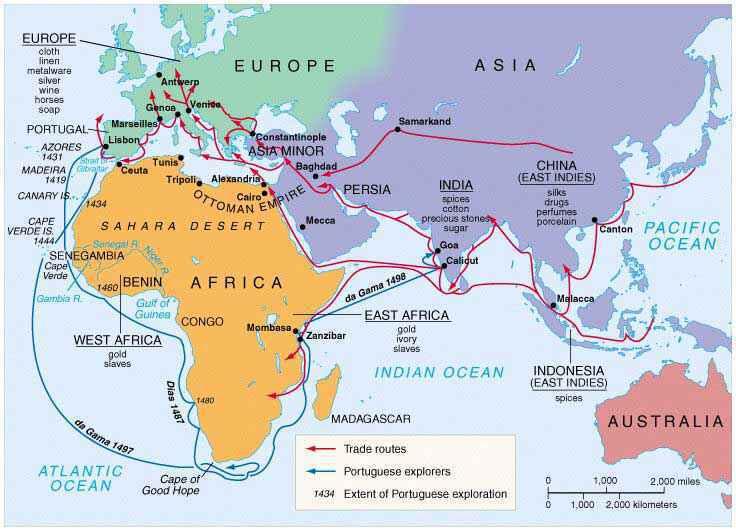 Mappa delle esplorazioni portoghesi in Africa nell'arco del XV secolo