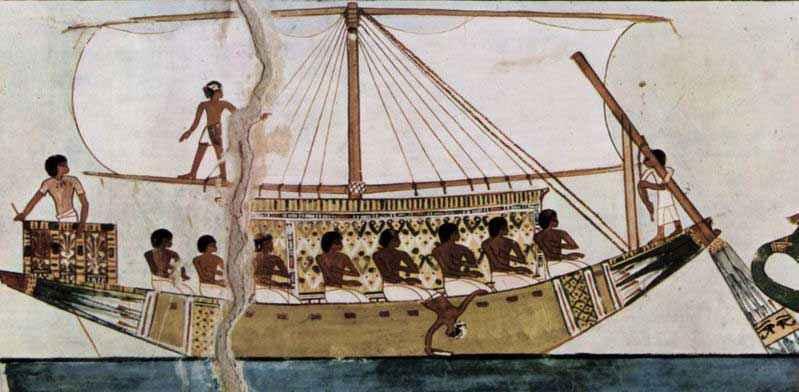 Raffigurazione di una nave dell'antico Egitto nella tomba di Menna, scriba sotto la XVIII dinastia