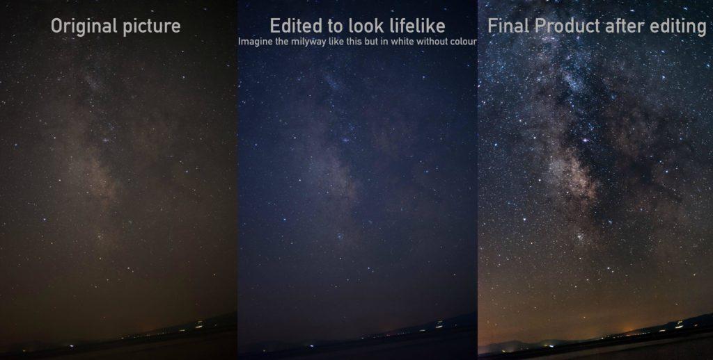 Foto della Via Lattea prima e dopo l'elaborazione digitale