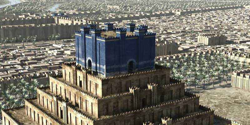 Il tempio di Etemenanki, ricoperto da piastrelle blu