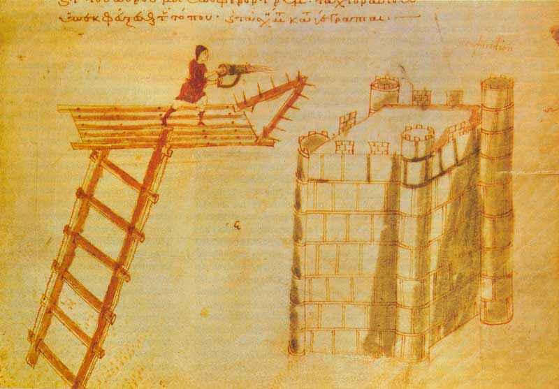 Sifone portatile per il fuoco greco, una sorta di lanciafiamme antico, mentre viene utilizzato dalla cima di una torre d'assedio. L'illustrazione proviene dal manoscritto Codex Vaticanus Graecus 1605 (IX-XI secolo)