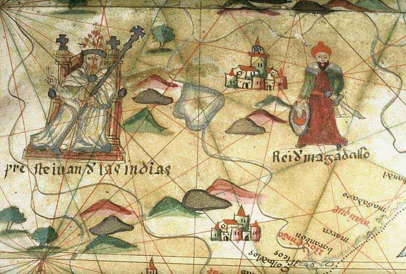 Portolano portoghese del tardo XVI secolo che mostra Prete Gianni in India