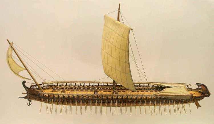 Modellino di trireme greca alDeutsches Museum, Monaco.