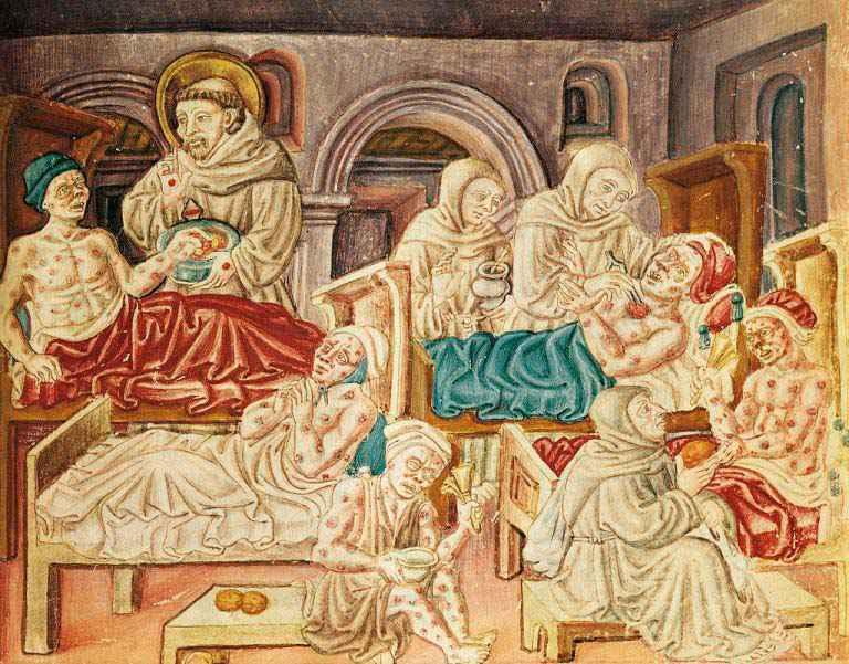 Manoscritto del 1474 che mostra le vittime della peste medicate con unguenti a base di zafferano