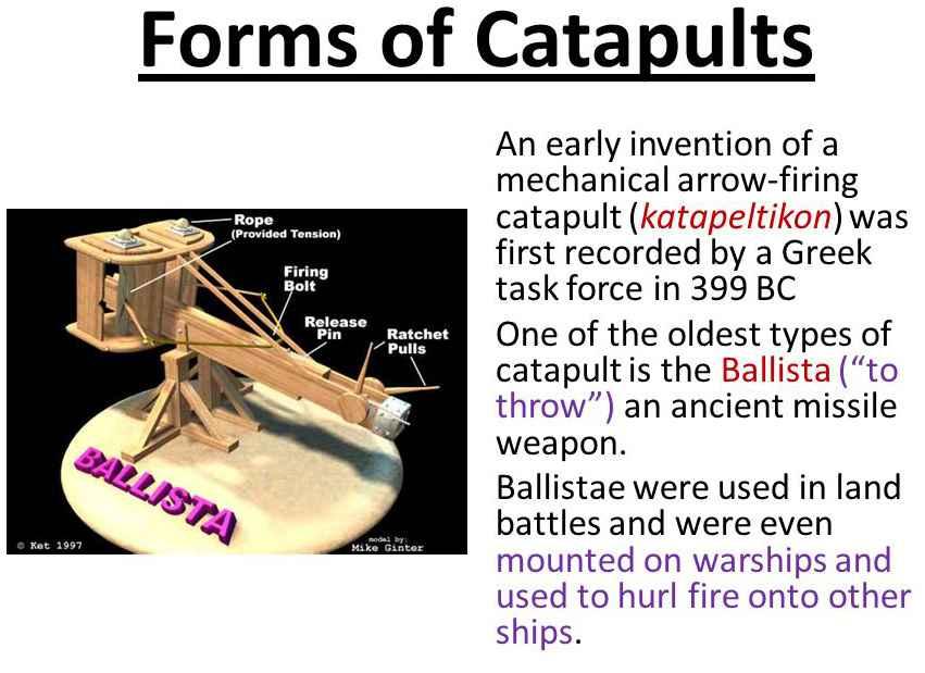katapeltikon, una balista in grado di scagliare frecce pesanti a grande distanza