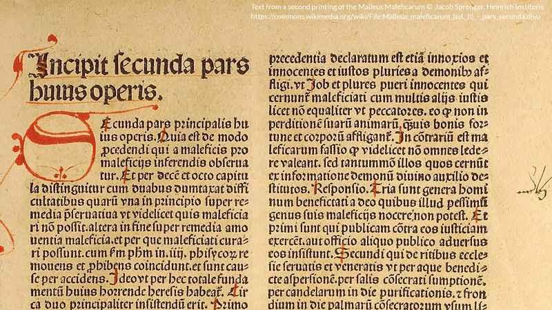 Estratto dalla seconda stampa del Malleus Maleficarum
