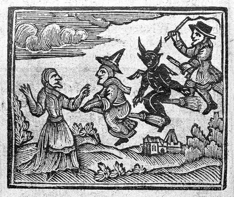 "Streghe raffigurate nel ""The History of Witches and Wizards"", 1720"