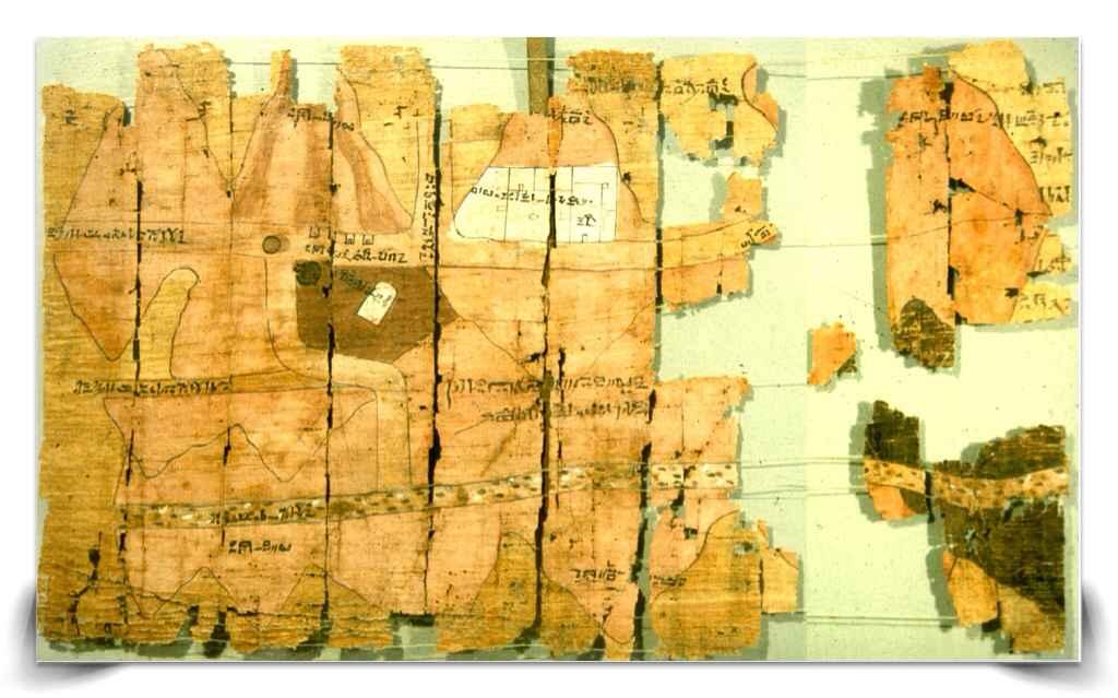 Mappa di papiro custodita al Museo Egizio di Torino e risalente al 1160 a.C.