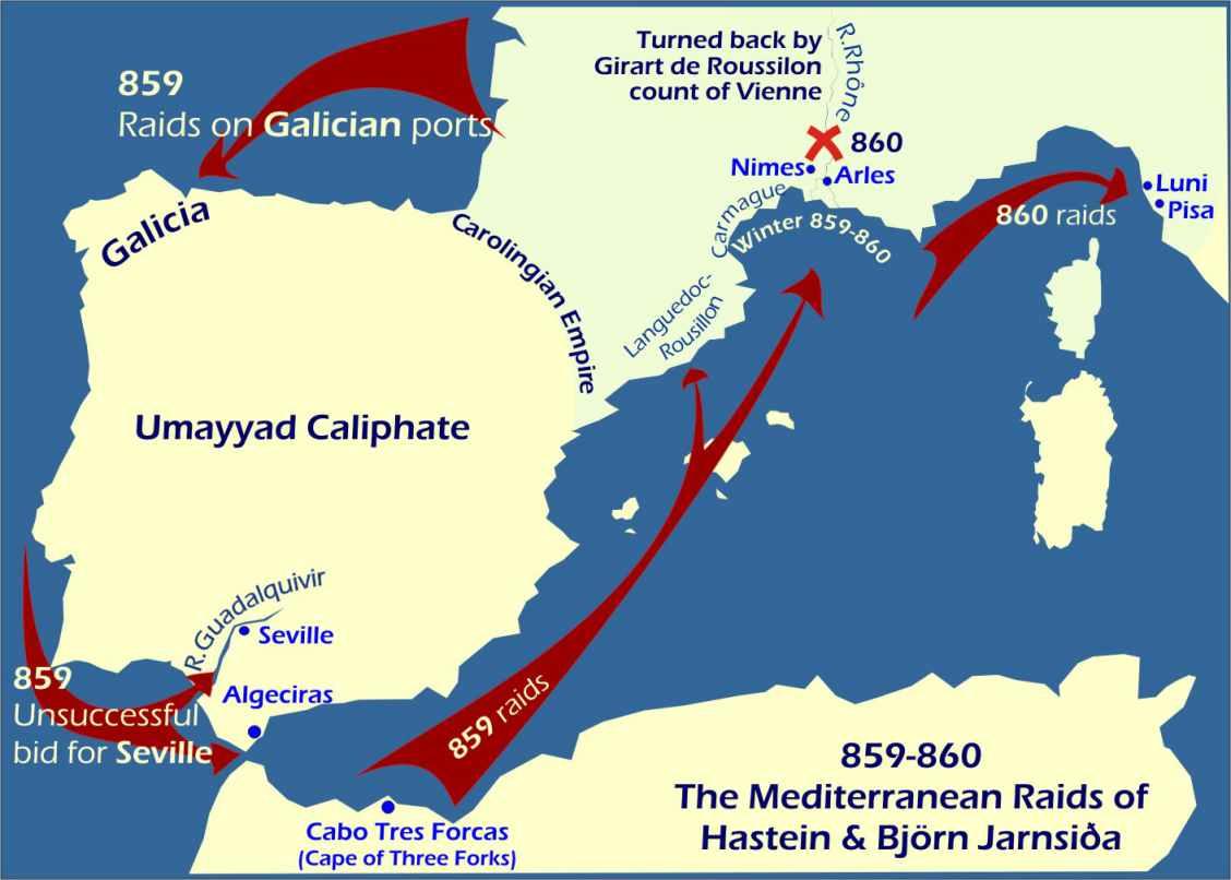 La rotta seguita da Bjorn Ragnarsson durante il suo viaggio nel Mediterraneo