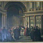 Antonio Cuccinelli, Dino Compagni in San Giovanni predica la pace tra guelfi e ghibellini, tela ottocentesca a palazzo Compagni, Firenze