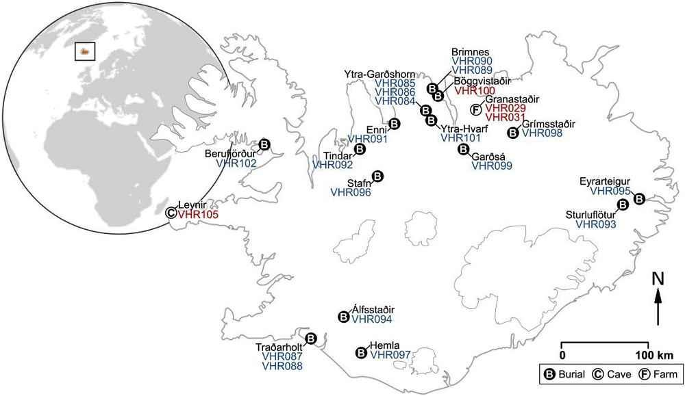 Mappa delle tombe islandesi da cui sono stati prelevati campioni ossei di cavallo