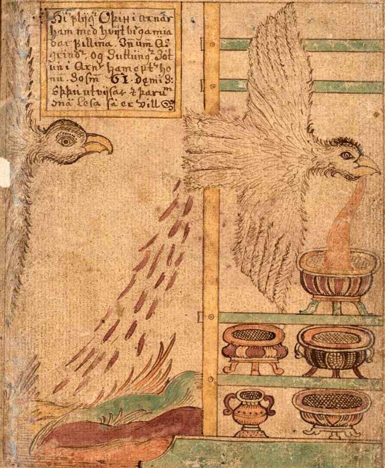 Sotto le sembianze di un'aquila, Odino ruba l'idromele della poesia dal gigante (jötunn) Suttungr. Raffigurazione presente nell' Eddahandskrift