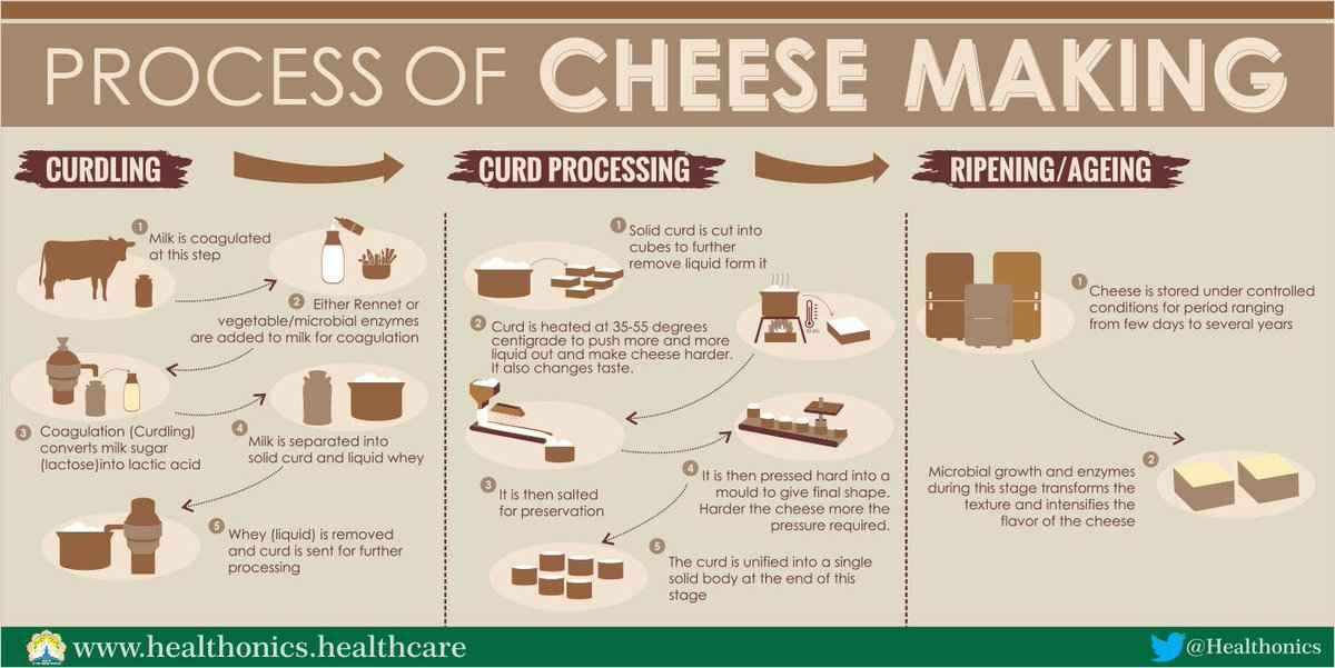 Fasi per la produzione di formaggio