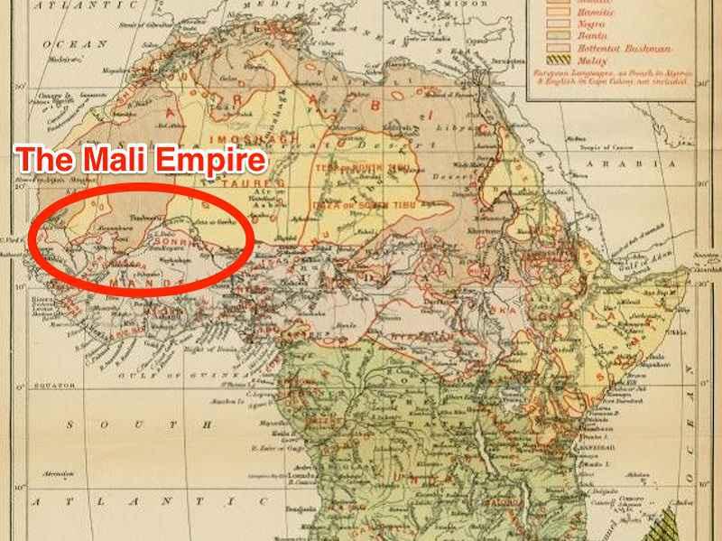 Le regioni controllate dall'impero del Mali sotto Mansa Musa