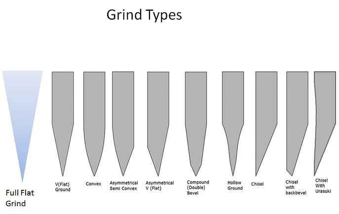 Una lama può assumere diversi profili. Ogni profilo richiede diverse angoli d'attacco sulla cote per essere affilato correttamente.