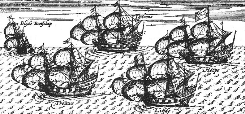 "La flotta su cui era imbarcato Adams: la ""Blijde Bootschap"", la ""Trouwe"", la ""T Gelooue"", la ""Liefde"" e la ""Hoope"""