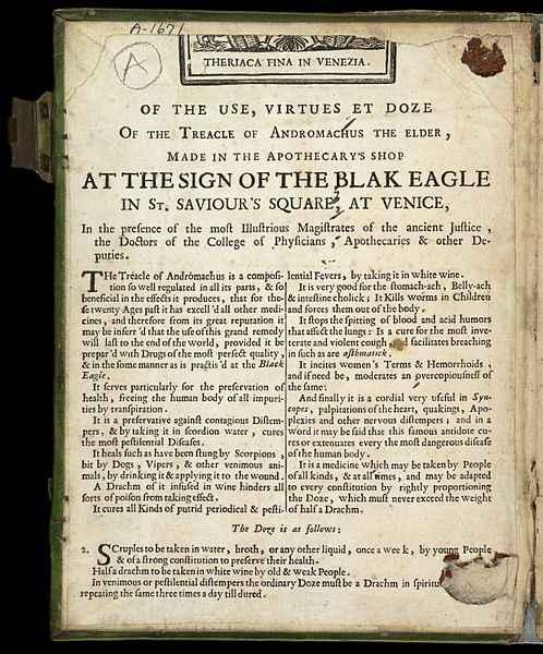 Istruzioni d'uso e di dosaggio della teriaca veneziana