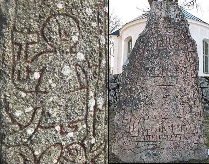 A sinistra, Thor e Mjölnir sulla pietra di Altuna, in Svezia. A destra, una pietra runica con la raffigurazione del martello di Thor.
