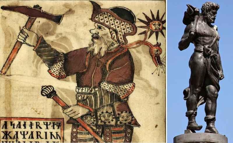 A sinistra, disegno di Thor islandese risalente al XVIII secolo; a destra, statua di Thor a Stoccolma